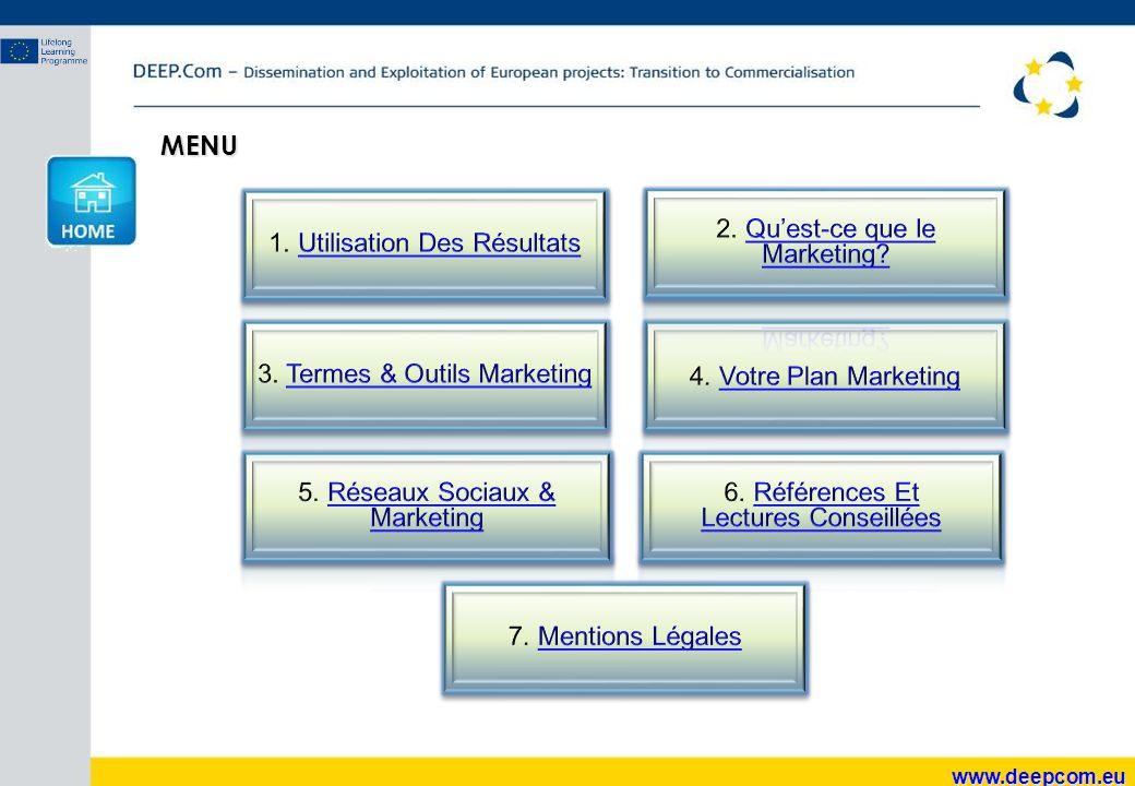 www.deepcom.eu 2.8 ACCES ET DISTRIBUTION Décrivez comment vous allez assurer l'accès à vos résultats prévus, sous quelles conditions et coûts ils seront accessibles, comment vous archiverez l'information qui pourra vous être demandée plus tard.