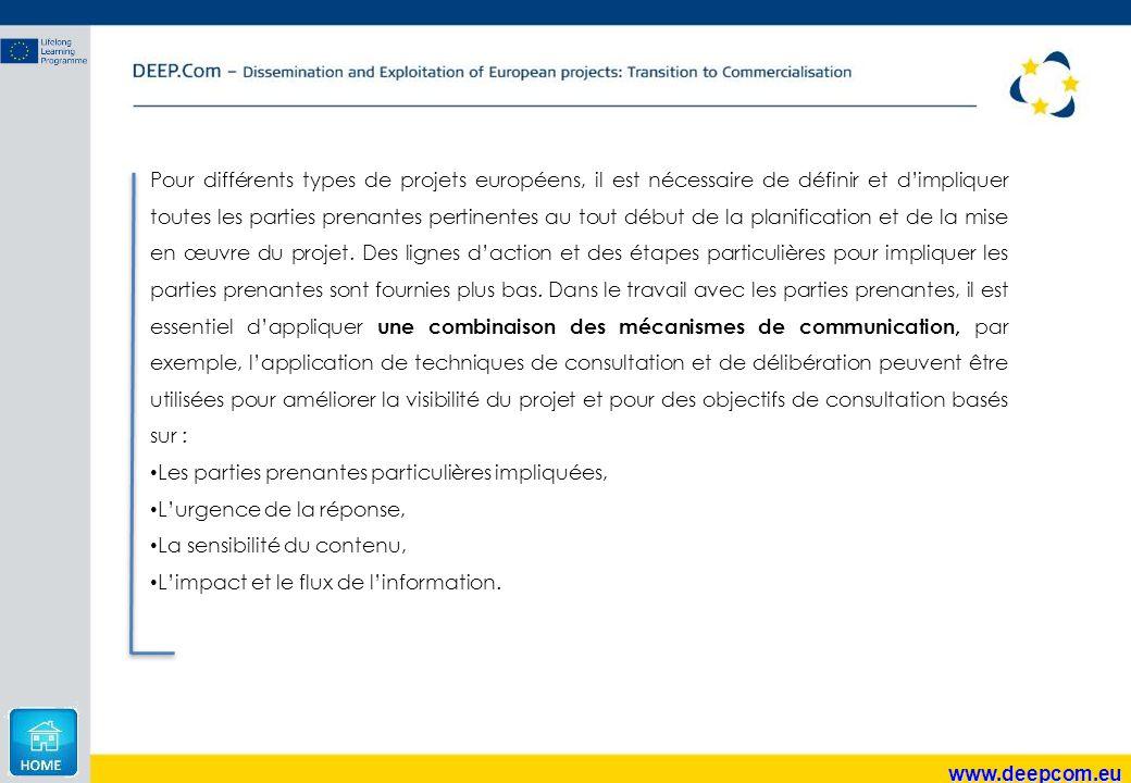 www.deepcom.eu Pour différents types de projets européens, il est nécessaire de définir et d'impliquer toutes les parties prenantes pertinentes au tou