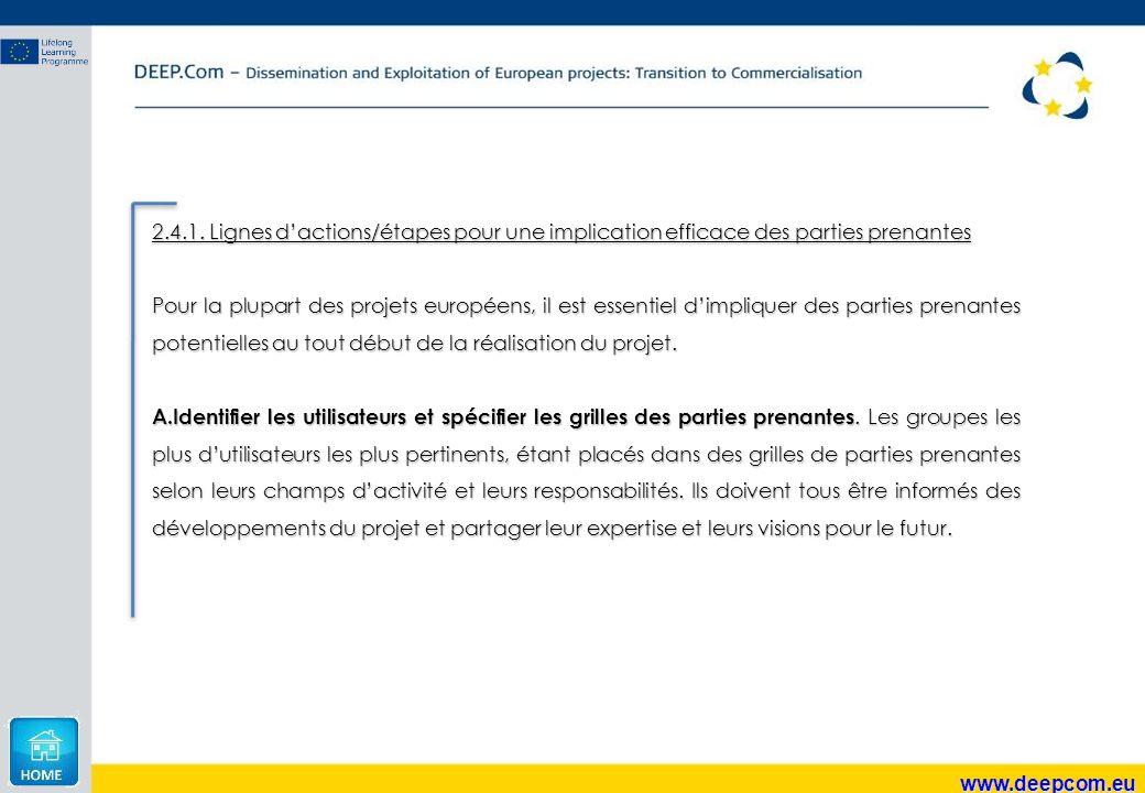 www.deepcom.eu 2.4.1. Lignes d'actions/étapes pour une implication efficace des parties prenantes Pour la plupart des projets européens, il est essent