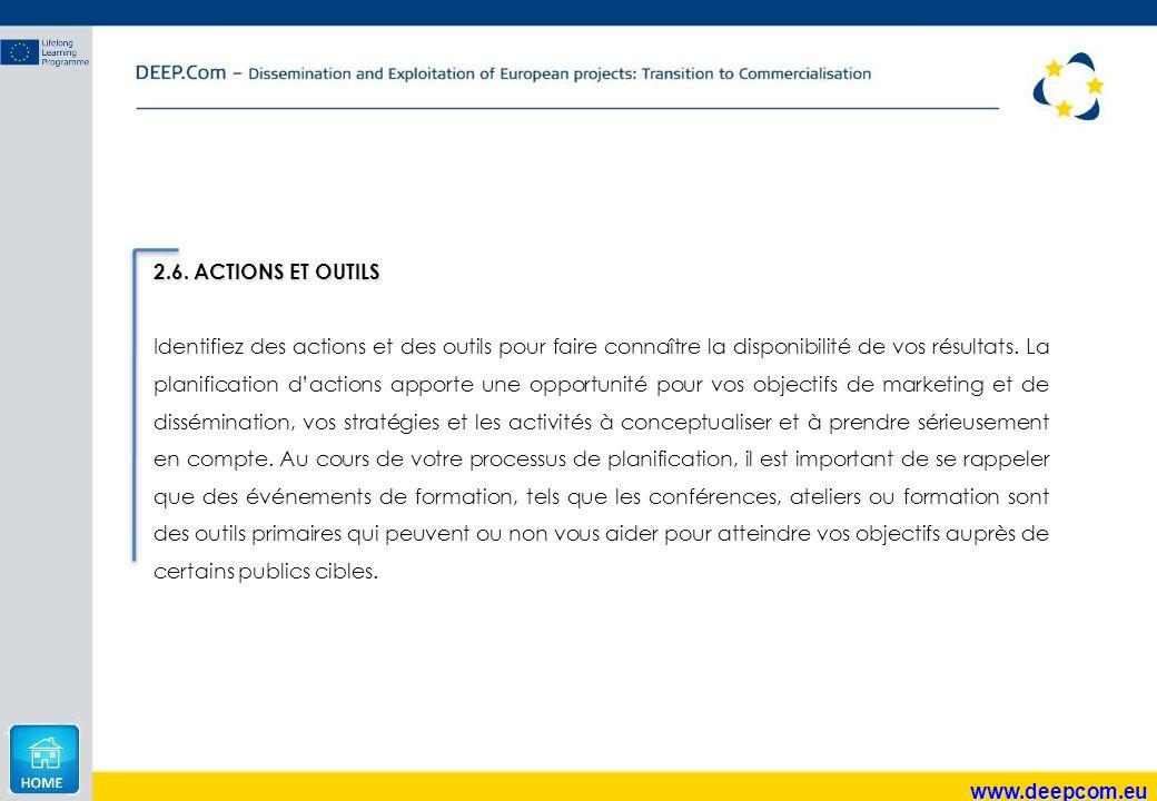www.deepcom.eu 2.6. ACTIONS ET OUTILS Identifiez des actions et des outils pour faire connaître la disponibilité de vos résultats. La planification d'