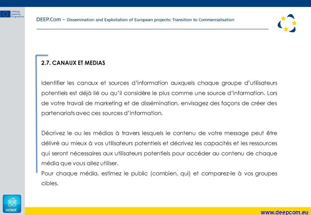 www.deepcom.eu 2.7. CANAUX ET MEDIAS Identifier les canaux et sources d'information auxquels chaque groupe d'utilisateurs potentiels est déjà lié ou q
