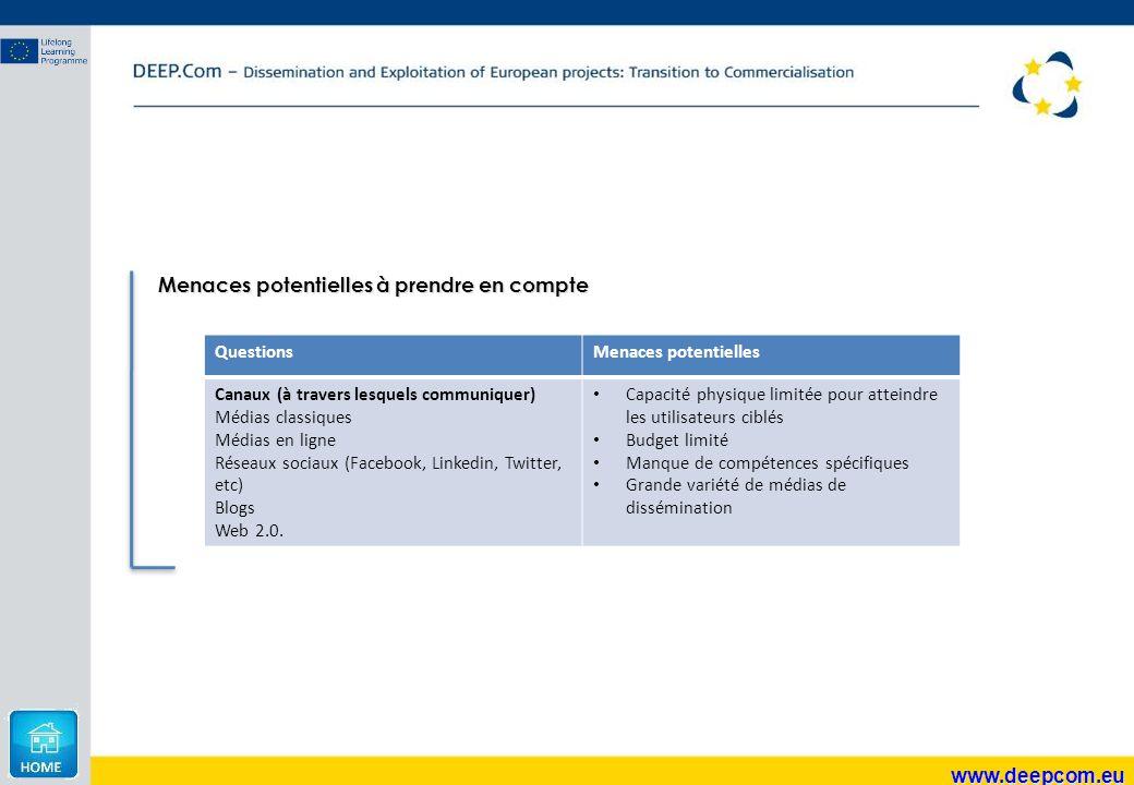 www.deepcom.eu Menaces potentielles à prendre en compte QuestionsMenaces potentielles Canaux (à travers lesquels communiquer) Médias classiques Médias