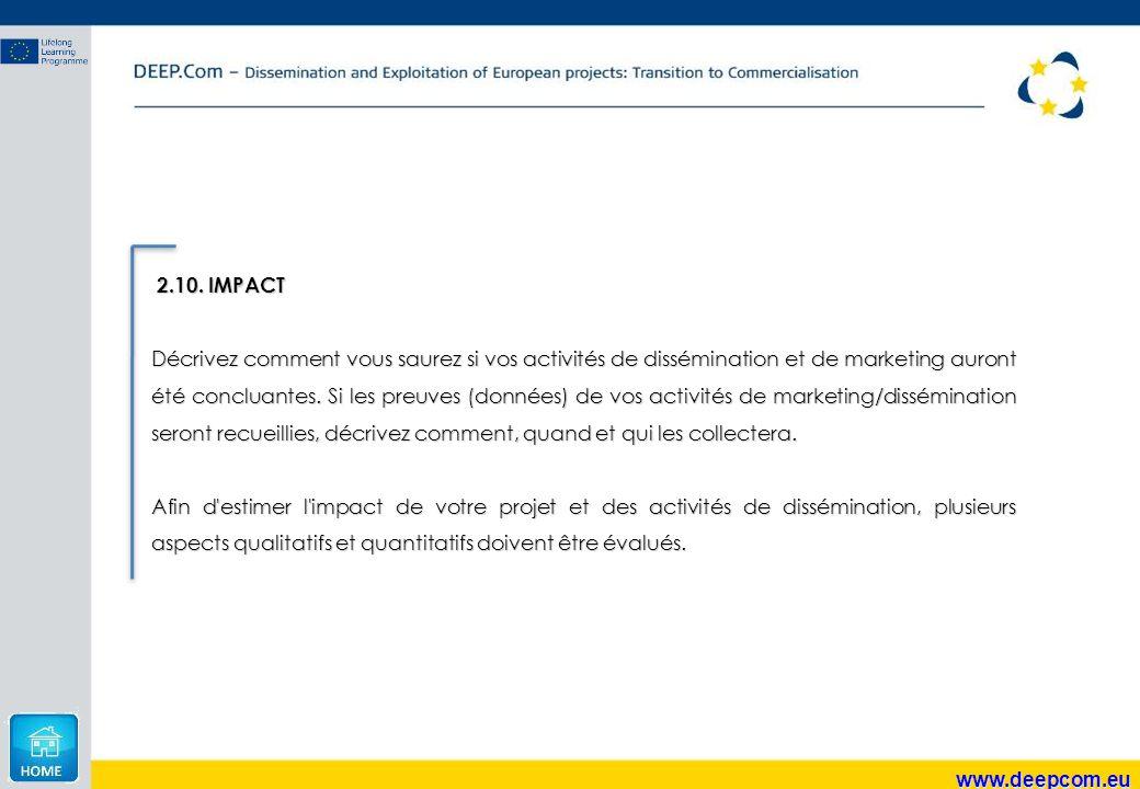 www.deepcom.eu 2.10. IMPACT 2.10. IMPACT Décrivez comment vous saurez si vos activités de dissémination et de marketing auront été concluantes. Si les
