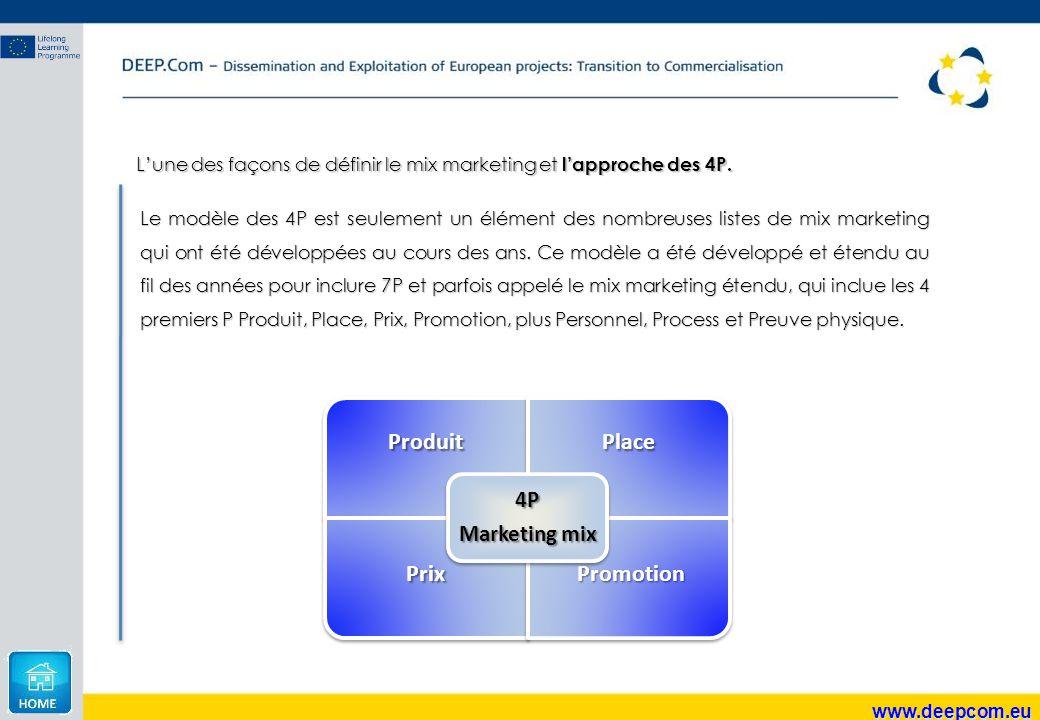 www.deepcom.eu L'une des façons de définir le mix marketing et l'approche des 4P. Le modèle des 4P est seulement un élément des nombreuses listes de m