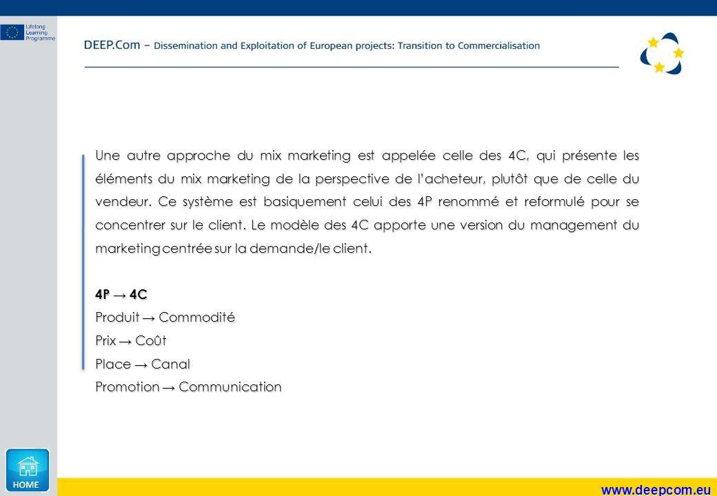 www.deepcom.eu Une autre approche du mix marketing est appelée celle des 4C, qui présente les éléments du mix marketing de la perspective de l'acheteu