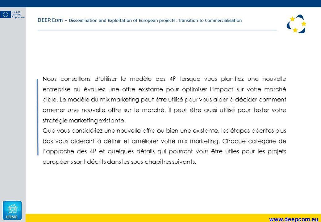 www.deepcom.eu Nous conseillons d'utiliser le modèle des 4P lorsque vous planifiez une nouvelle entreprise ou évaluez une offre existante pour optimis