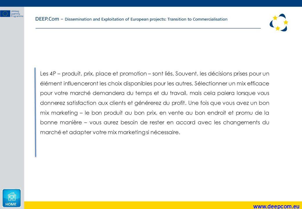 www.deepcom.eu Les 4P – produit, prix, place et promotion – sont liés. Souvent, les décisions prises pour un élément influenceront les choix disponibl