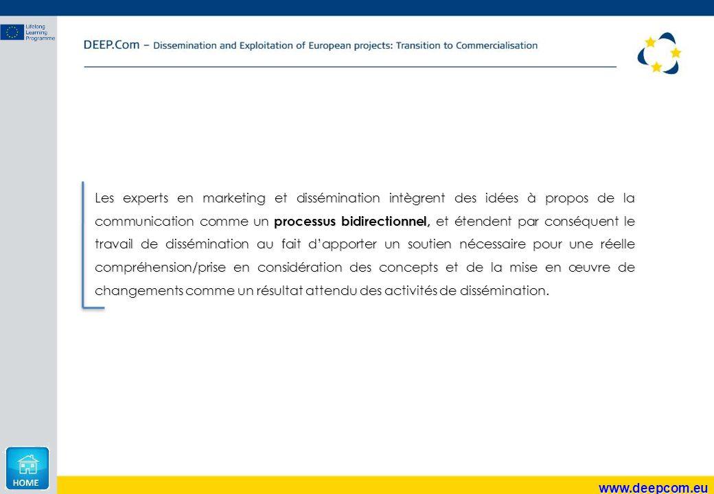 www.deepcom.eu Les experts en marketing et dissémination intègrent des idées à propos de la communication comme un processus bidirectionnel, et étende