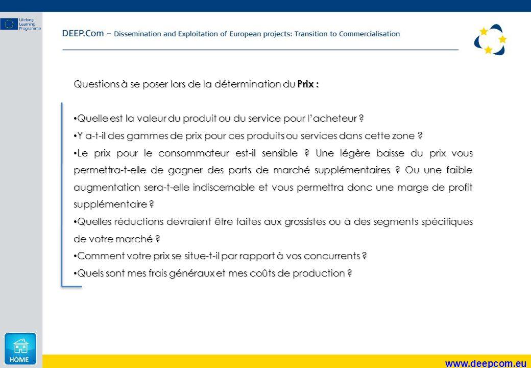 www.deepcom.eu Questions à se poser lors de la détermination du Prix : Quelle est la valeur du produit ou du service pour l'acheteur ? Quelle est la v