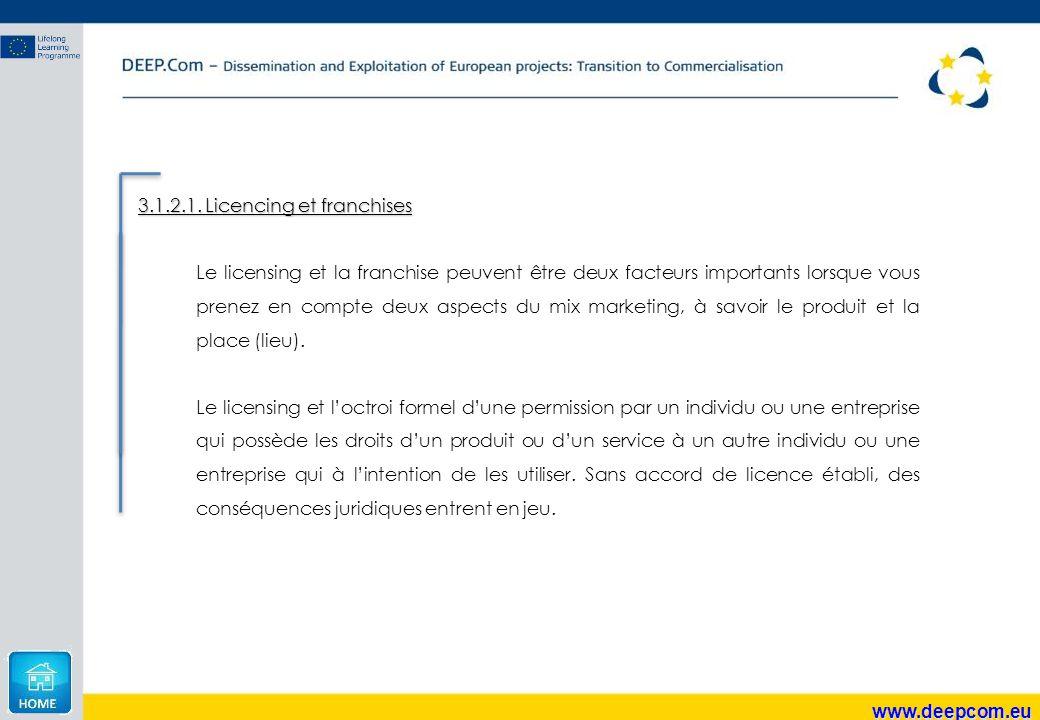 www.deepcom.eu 3.1.2.1. Licencing et franchises Le licensing et la franchise peuvent être deux facteurs importants lorsque vous prenez en compte deux