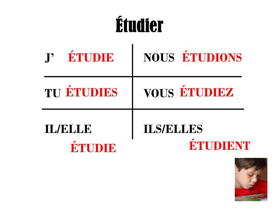Étudier J' NOUS TU VOUS IL/ELLE ILS/ELLES ÉTUDIE ÉTUDIES ÉTUDIONS ÉTUDIEZ ÉTUDIENT