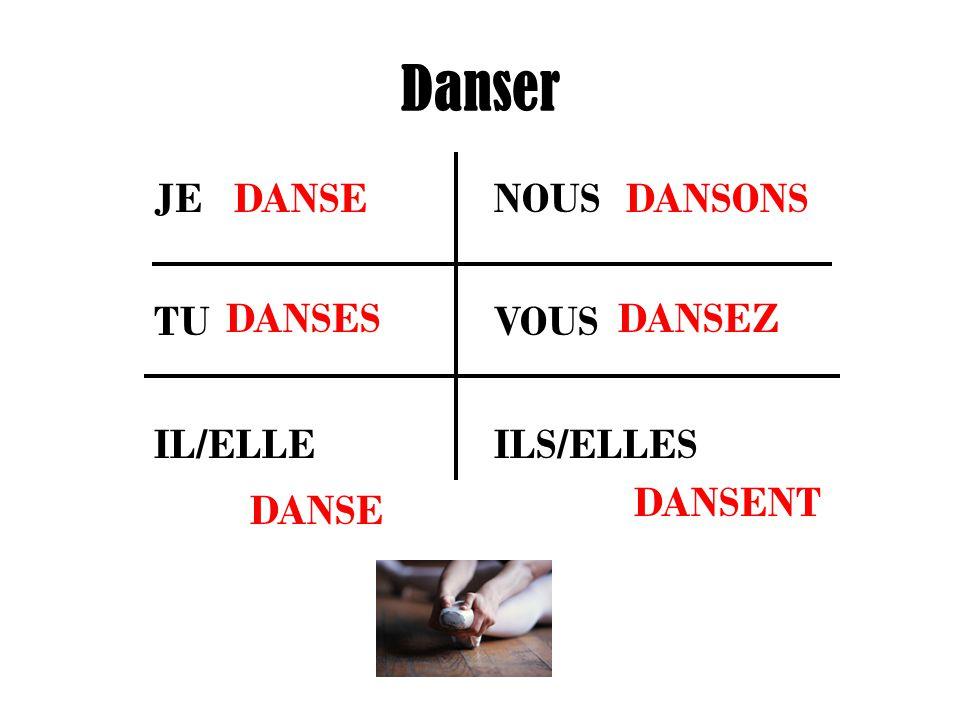 Danser JE NOUS TU VOUS IL/ELLE ILS/ELLES DANSE DANSES DANSONS DANSEZ DANSENT
