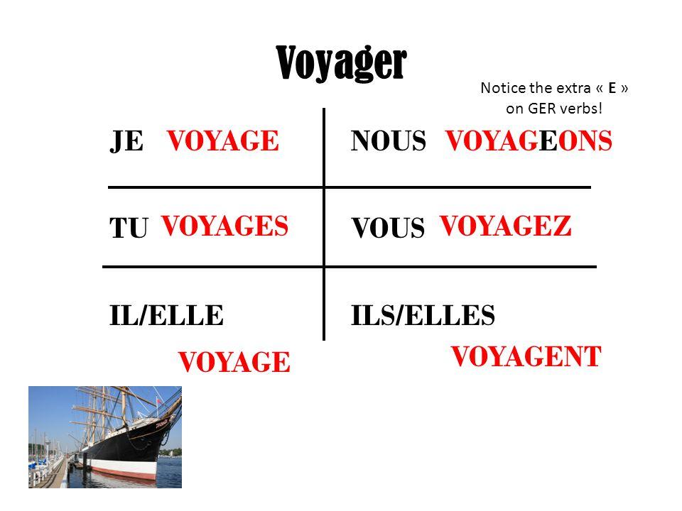 Voyager JE NOUS TU VOUS IL/ELLE ILS/ELLES VOYAGE VOYAGES VOYAGEONS VOYAGEZ VOYAGENT Notice the extra « E » on GER verbs!