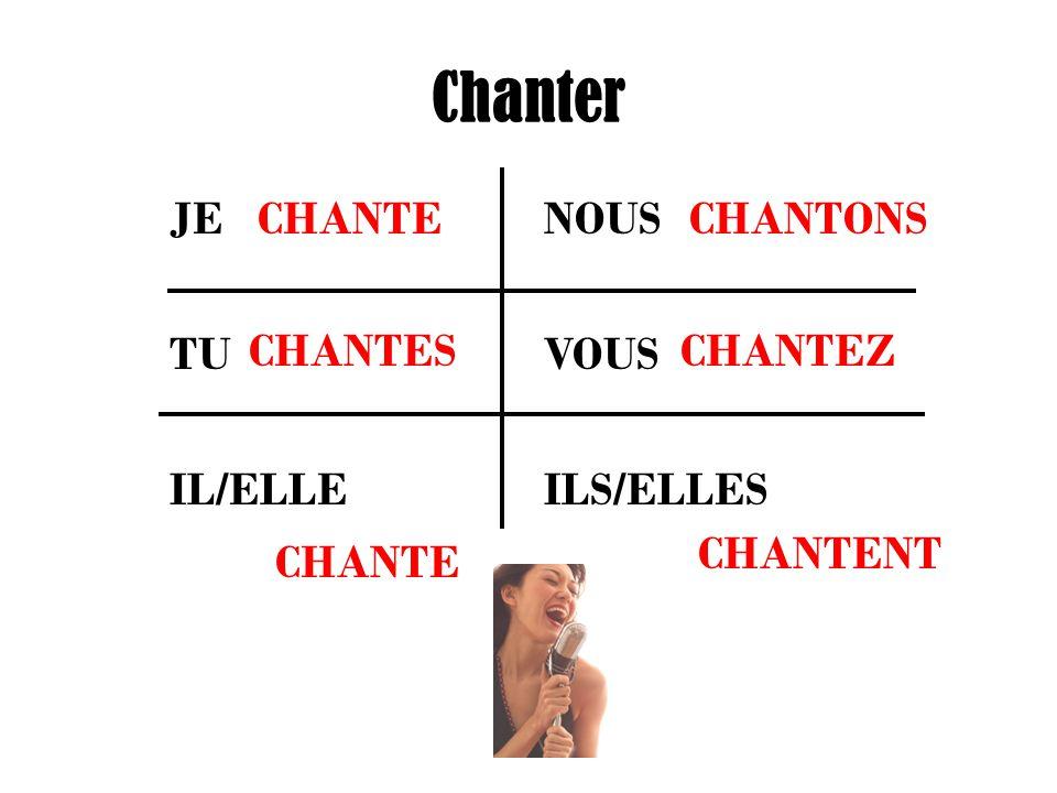Chanter JE NOUS TU VOUS IL/ELLE ILS/ELLES CHANTE CHANTES CHANTONS CHANTEZ CHANTENT