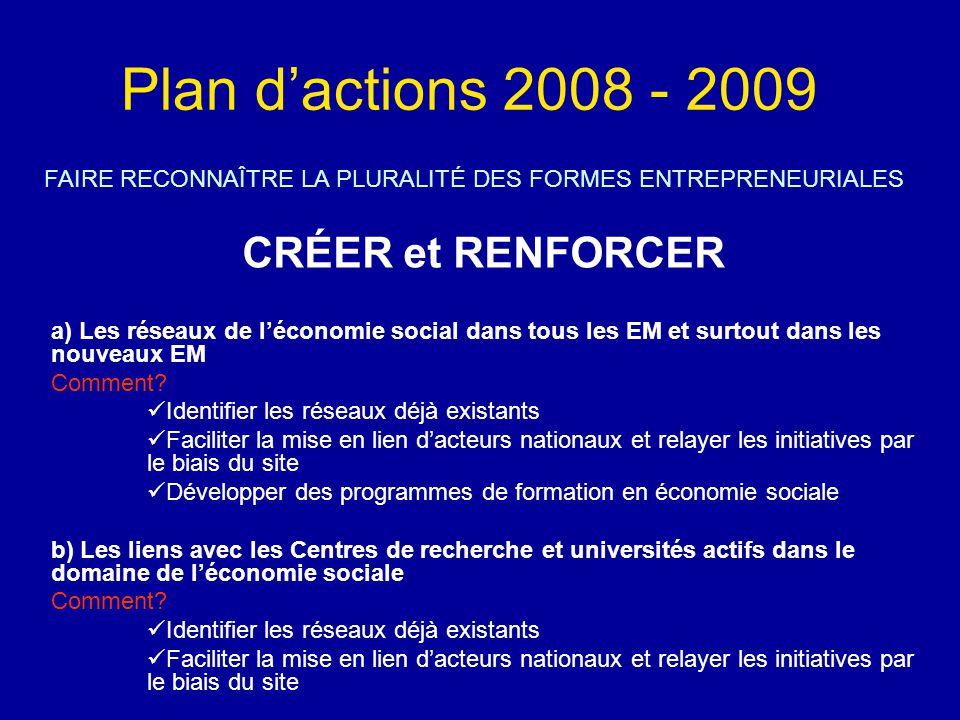 Plan d'actions 2008 - 2009 FAIRE RECONNAÎTRE LA PLURALITÉ DES FORMES ENTREPRENEURIALES CRÉER et RENFORCER a) Les réseaux de l'économie social dans tous les EM et surtout dans les nouveaux EM Comment.