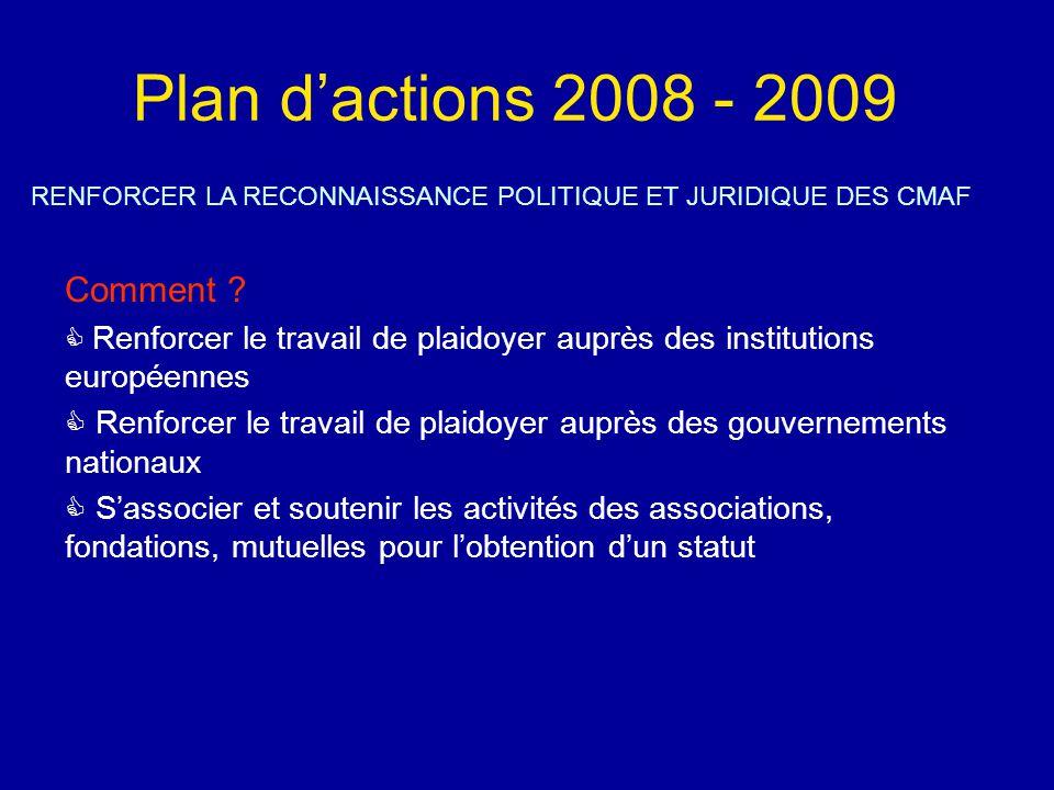 Plan d'actions 2008 - 2009 RENFORCER LA RECONNAISSANCE POLITIQUE ET JURIDIQUE DES CMAF Comment .