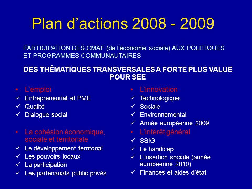 Plan d'actions 2008 - 2009 PARTICIPATION DES CMAF (de l'économie sociale) AUX POLITIQUES ET PROGRAMMES COMMUNAUTAIRES DES THÉMATIQUES TRANSVERSALES A FORTE PLUS VALUE POUR SEE L'emploi Entrepreneuriat et PME Qualité Dialogue social La cohésion économique, sociale et territoriale Le développement territorial Les pouvoirs locaux La participation Les partenariats public-privés L'innovation Technologique Sociale Environnemental Année européenne 2009 L'intérêt général SSIG Le handicap L'insertion sociale (année européenne 2010) Finances et aides d'état