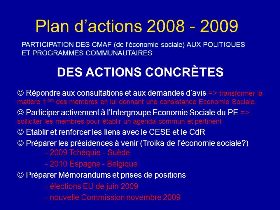 Plan d'actions 2008 - 2009 PARTICIPATION DES CMAF (de l'économie sociale) AUX POLITIQUES ET PROGRAMMES COMMUNAUTAIRES DES ACTIONS CONCRÈTES Répondre aux consultations et aux demandes d'avis => transformer la matière 1 ière des membres en lui donnant une consistance Economie Sociale.