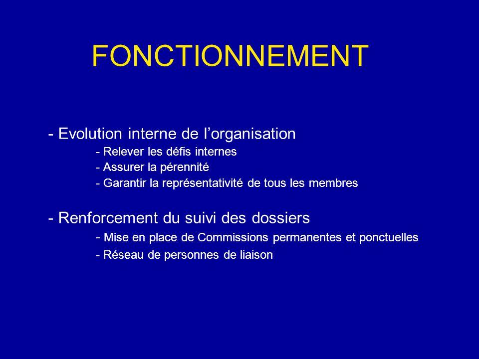 FONCTIONNEMENT - Evolution interne de l'organisation - Relever les défis internes - Assurer la pérennité - Garantir la représentativité de tous les membres - Renforcement du suivi des dossiers - Mise en place de Commissions permanentes et ponctuelles - Réseau de personnes de liaison