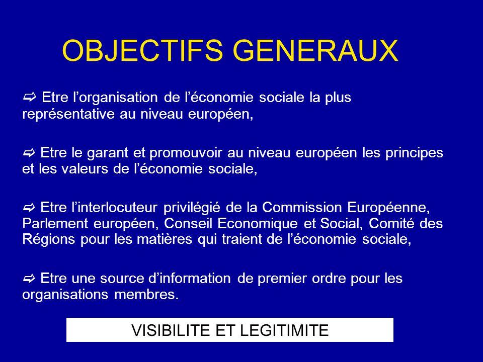 OBJECTIFS GENERAUX  Etre l'organisation de l'économie sociale la plus représentative au niveau européen,  Etre le garant et promouvoir au niveau européen les principes et les valeurs de l'économie sociale,  Etre l'interlocuteur privilégié de la Commission Européenne, Parlement européen, Conseil Economique et Social, Comité des Régions pour les matières qui traient de l'économie sociale,  Etre une source d'information de premier ordre pour les organisations membres.