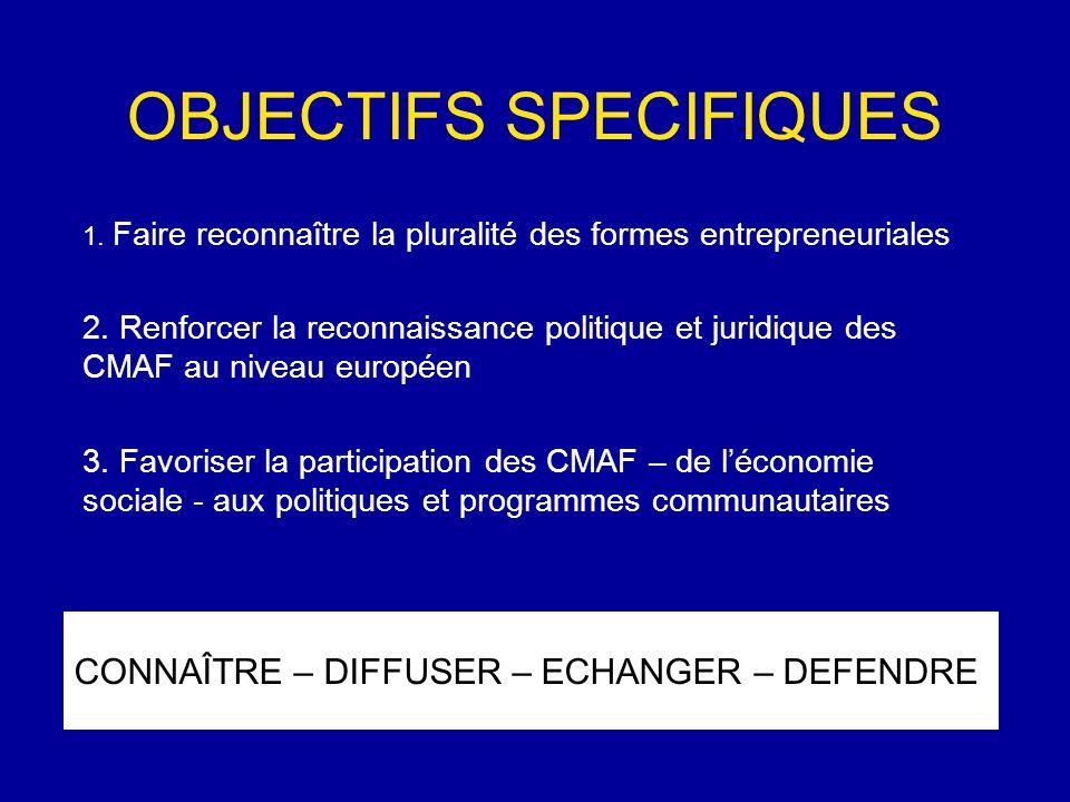 OBJECTIFS SPECIFIQUES CONNAÎTRE – DIFFUSER – ECHANGER – DEFENDRE 1.