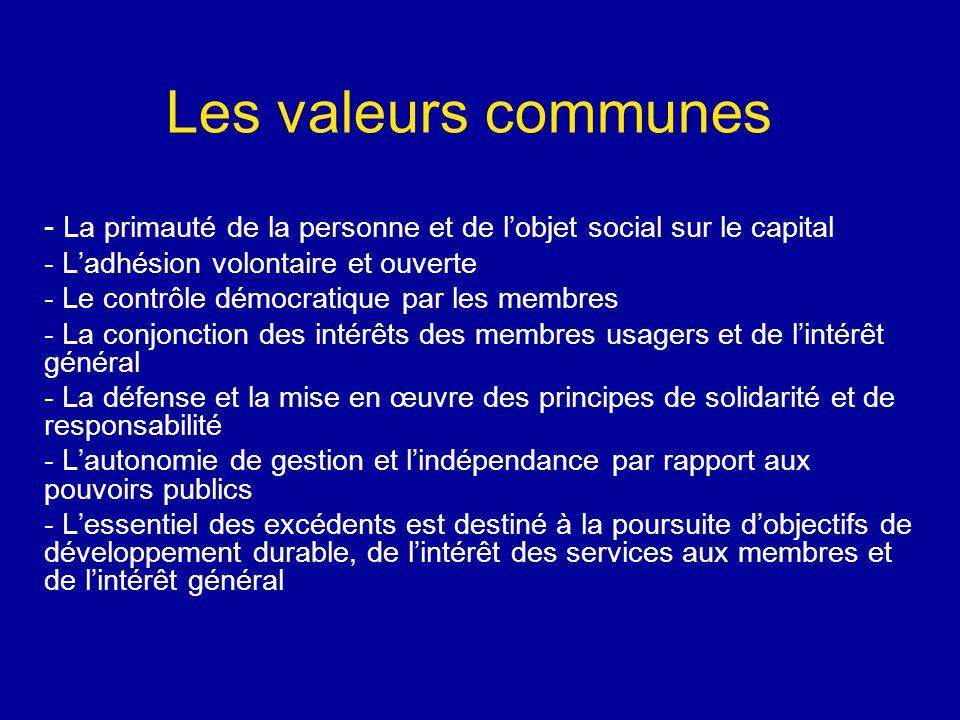 Les valeurs communes - La primauté de la personne et de l'objet social sur le capital - L'adhésion volontaire et ouverte - Le contrôle démocratique par les membres - La conjonction des intérêts des membres usagers et de l'intérêt général - La défense et la mise en œuvre des principes de solidarité et de responsabilité - L'autonomie de gestion et l'indépendance par rapport aux pouvoirs publics - L'essentiel des excédents est destiné à la poursuite d'objectifs de développement durable, de l'intérêt des services aux membres et de l'intérêt général