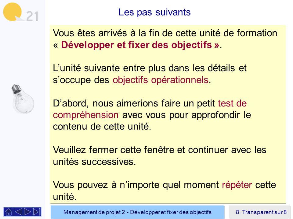 Management de projet 2 - Développer et fixer des objectifs8.