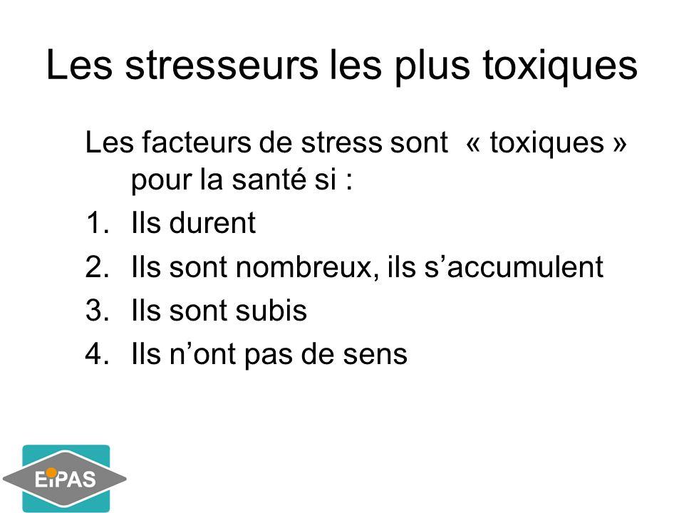 Les stresseurs les plus toxiques Les facteurs de stress sont « toxiques » pour la santé si : 1.Ils durent 2.Ils sont nombreux, ils s'accumulent 3.Ils sont subis 4.Ils n'ont pas de sens