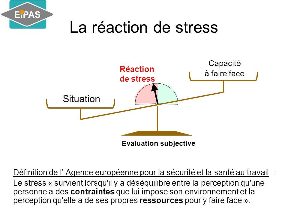 La réaction de stress Définition de l' Agence européenne pour la sécurité et la santé au travail : Le stress « survient lorsqu il y a déséquilibre entre la perception qu une personne a des contraintes que lui impose son environnement et la perception qu elle a de ses propres ressources pour y faire face ».