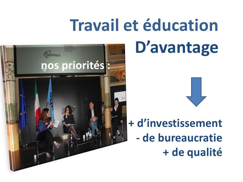 Travail et éducation D'avantage nos priorités : + d'investissement - de bureaucratie + de qualité