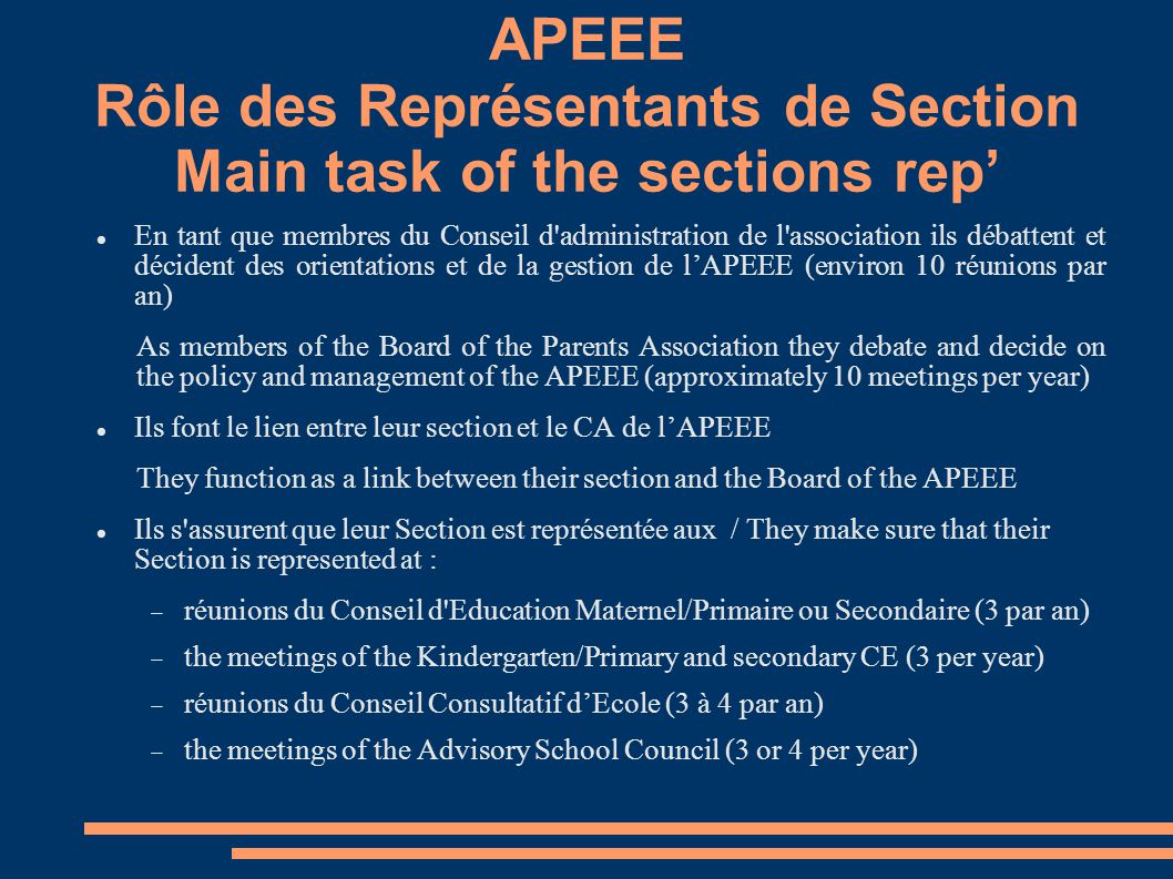 APEEE Rôle des Représentants de Section Main task of the sections rep' En tant que membres du Conseil d administration de l association‏ ils débattent et décident des orientations et de la gestion de l'APEEE (environ 10 réunions par an) As members of the Board of the Parents Association they debate and decide on the policy and management of the APEEE (approximately 10 meetings per year) Ils font le lien entre leur section et le CA de l'APEEE They function as a link between their section and the Board of the APEEE Ils s assurent que leur Section est représentée aux / They make sure that their Section is represented at :  réunions du Conseil d Education Maternel/Primaire ou Secondaire (3 par an)  the meetings of the Kindergarten/Primary and secondary CE (3 per year)‏  réunions du Conseil Consultatif d'Ecole (3 à 4 par an)  the meetings of the Advisory School Council (3 or 4 per year)