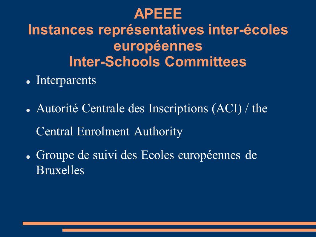 APEEE Instances représentatives inter-écoles européennes Inter-Schools Committees Interparents Autorité Centrale des Inscriptions (ACI) / the Central Enrolment Authority Groupe de suivi des Ecoles européennes de Bruxelles