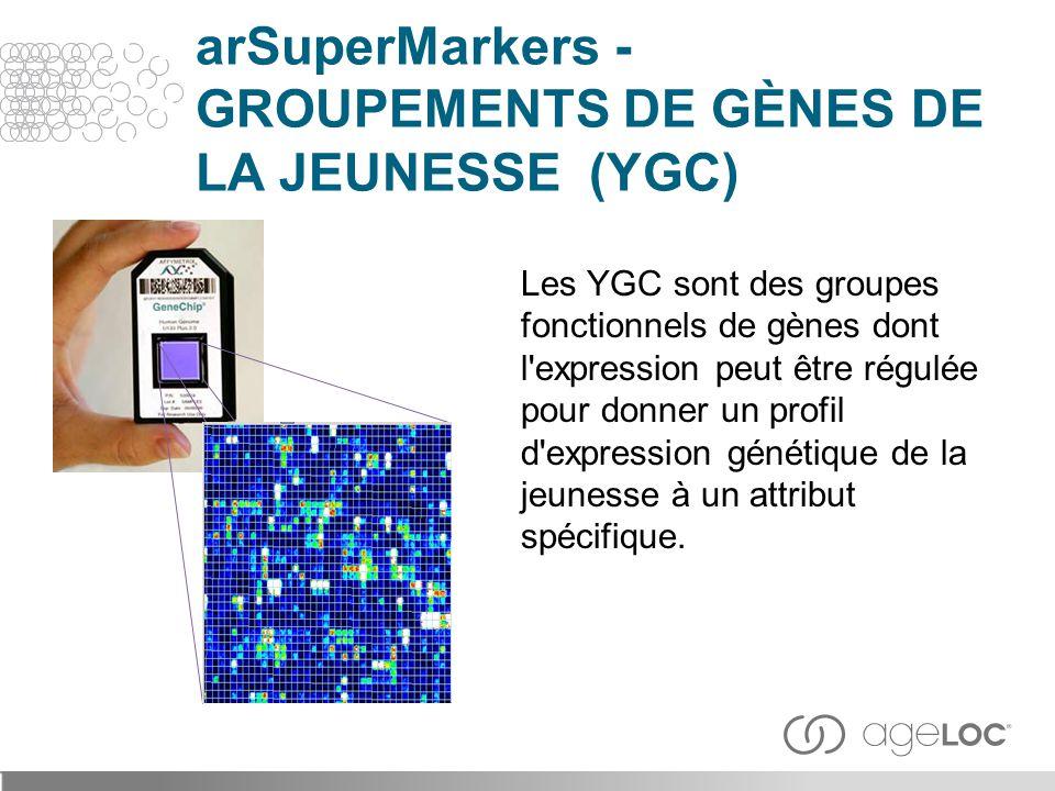Les YGC sont des groupes fonctionnels de gènes dont l'expression peut être régulée pour donner un profil d'expression génétique de la jeunesse à un at