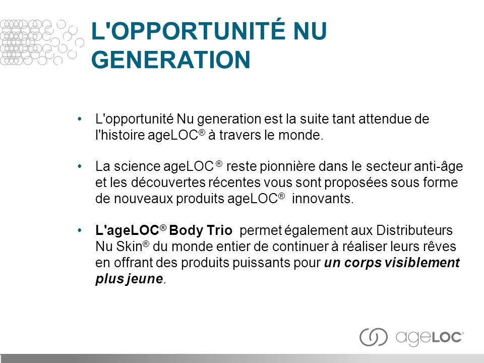 L'OPPORTUNITÉ NU GENERATION L'opportunité Nu generation est la suite tant attendue de l'histoire ageLOC ® à travers le monde. La science ageLOC ® rest