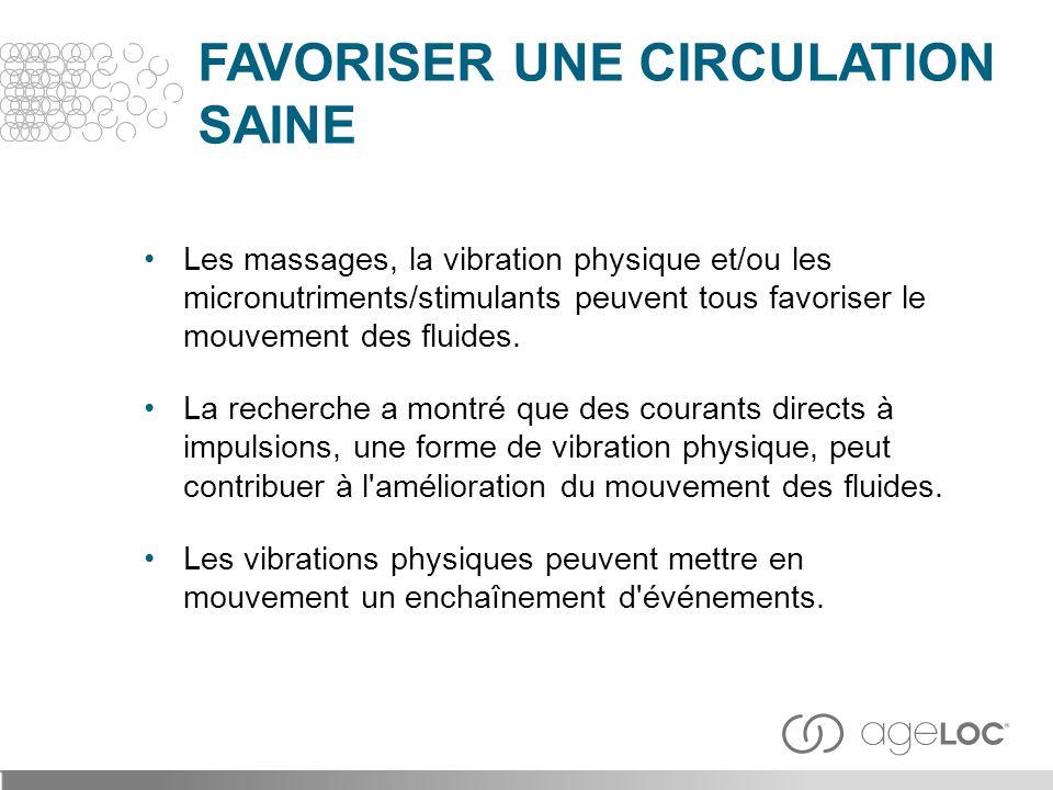 Les massages, la vibration physique et/ou les micronutriments/stimulants peuvent tous favoriser le mouvement des fluides. La recherche a montré que de