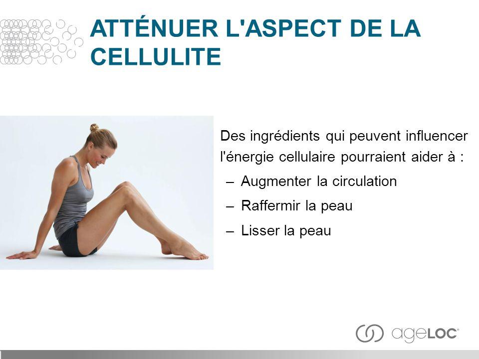 Des ingrédients qui peuvent influencer l'énergie cellulaire pourraient aider à : –Augmenter la circulation –Raffermir la peau –Lisser la peau ATTÉNUER