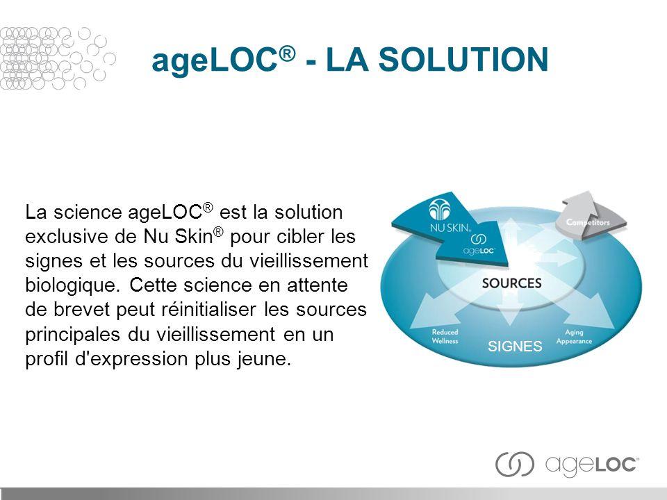 La science ageLOC ® est la solution exclusive de Nu Skin ® pour cibler les signes et les sources du vieillissement biologique. Cette science en attent