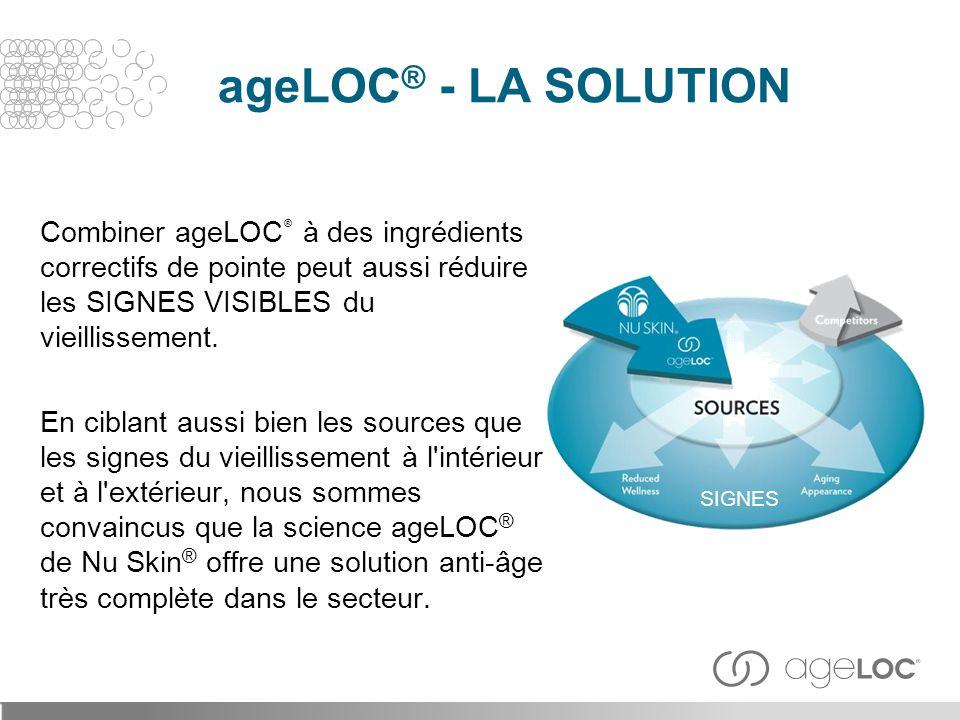 Combiner ageLOC ® à des ingrédients correctifs de pointe peut aussi réduire les SIGNES VISIBLES du vieillissement. En ciblant aussi bien les sources q