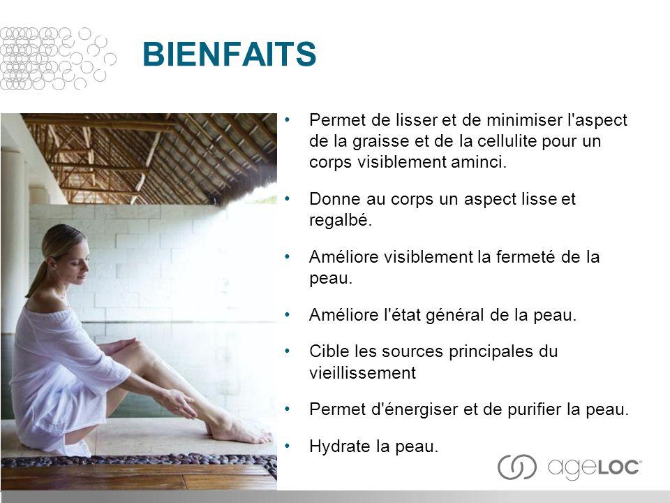 BIENFAITS Permet de lisser et de minimiser l'aspect de la graisse et de la cellulite pour un corps visiblement aminci. Donne au corps un aspect lisse
