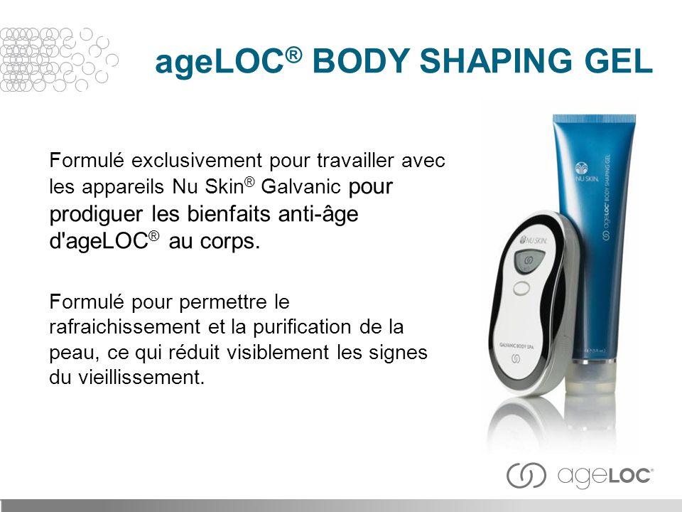 Formulé exclusivement pour travailler avec les appareils Nu Skin ® Galvanic pour prodiguer les bienfaits anti-âge d'ageLOC ® au corps. Formulé pour pe