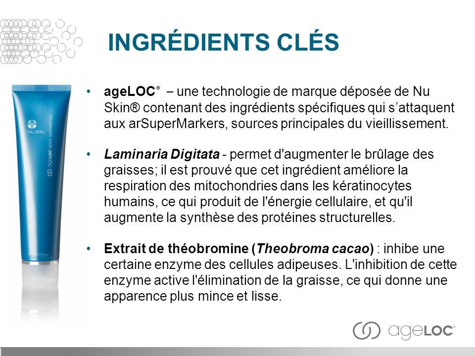 ageLOC ® – une technologie de marque déposée de Nu Skin® contenant des ingrédients spécifiques qui s'attaquent aux arSuperMarkers, sources principales