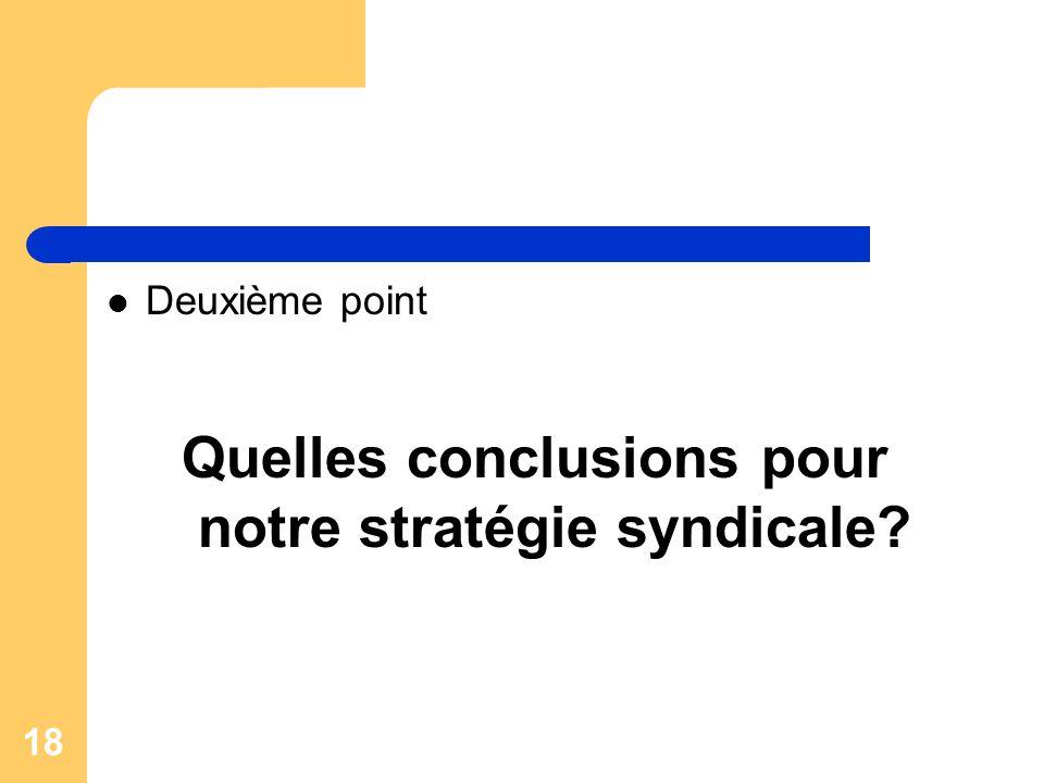 18 Deuxième point Quelles conclusions pour notre stratégie syndicale?
