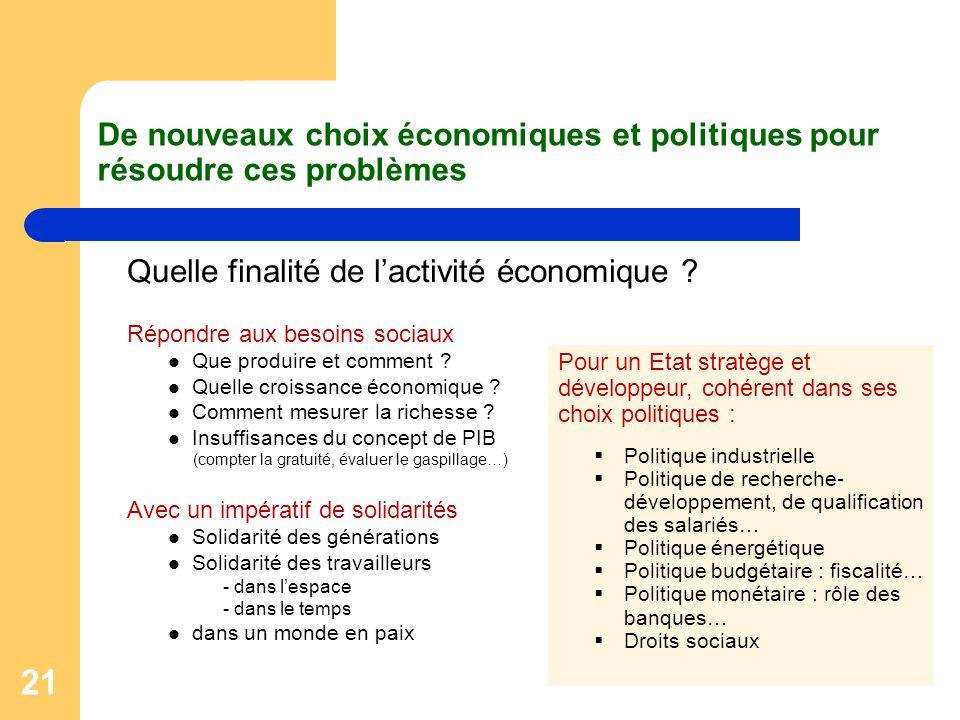 21 De nouveaux choix économiques et politiques pour résoudre ces problèmes Quelle finalité de l'activité économique ? Répondre aux besoins sociaux Que