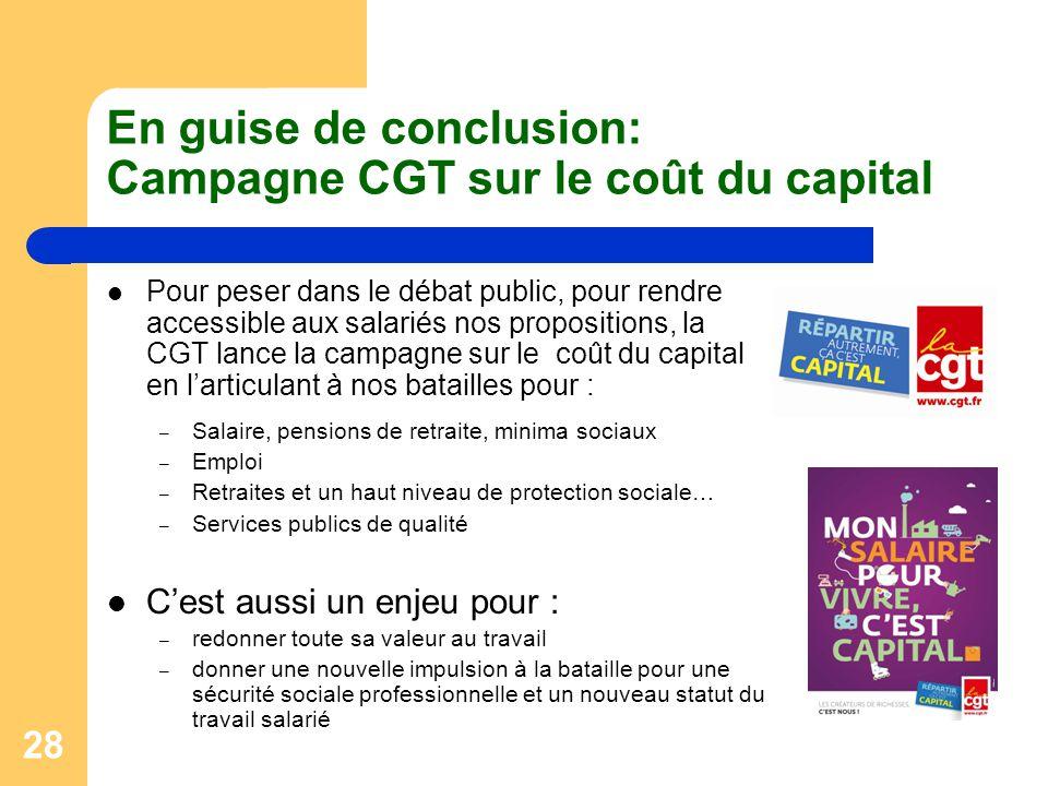 28 En guise de conclusion: Campagne CGT sur le coût du capital Pour peser dans le débat public, pour rendre accessible aux salariés nos propositions,