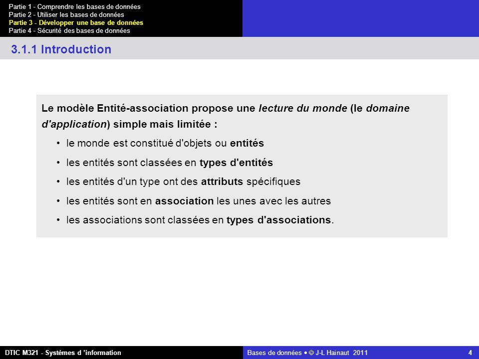 Bases de données   J-L Hainaut 2011 4 Partie 1 - Comprendre les bases de données Partie 2 - Utiliser les bases de données Partie 3 - Développer une base de données Partie 4 - Sécurité des bases de données DTIC M321 - Systèmes d 'information 3.1.1 Introduction Le modèle Entité-association propose une lecture du monde (le domaine d application) simple mais limitée : le monde est constitué d objets ou entités les entités sont classées en types d entités les entités d un type ont des attributs spécifiques les entités sont en association les unes avec les autres les associations sont classées en types d associations.