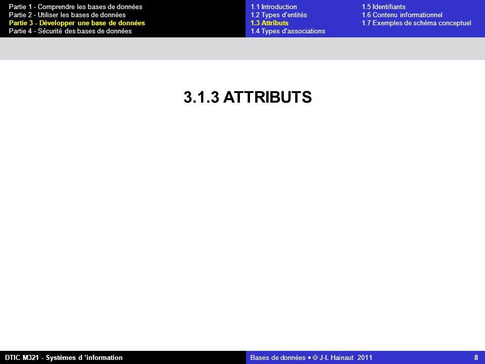Bases de données   J-L Hainaut 2011 8 Partie 1 - Comprendre les bases de données Partie 2 - Utiliser les bases de données Partie 3 - Développer une base de données Partie 4 - Sécurité des bases de données DTIC M321 - Systèmes d 'information 3.1.3 ATTRIBUTS 1.1 Introduction1.5 Identifiants 1.2 Types d entités 1.6 Contenu informationnel 1.3 Attributs 1.7 Exemples de schéma conceptuel 1.4 Types d associations