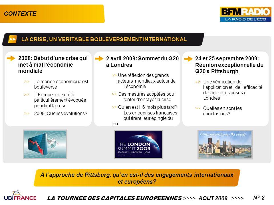 LA TOURNEE DES CAPITALES EUROPEENNES >>>> AOUT 2009 >>>>N° 3 L'EUROPE UN ACTEUR MAJEUR POUR LA RELANCE Radio de l'Economie et au cœur de l'actualité, BFM se doit d'être la relai médiatique de cette crise.