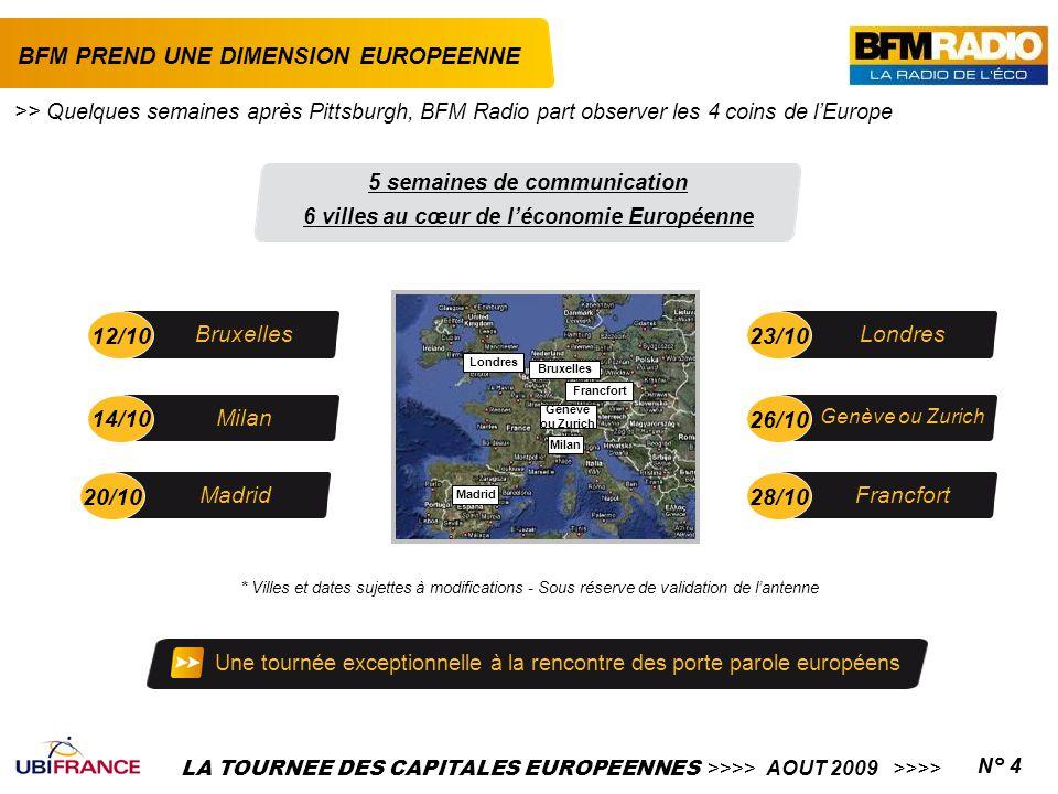 LA TOURNEE DES CAPITALES EUROPEENNES >>>> AOUT 2009 >>>>N° 4 BFM PREND UNE DIMENSION EUROPEENNE * Villes et dates sujettes à modifications - Sous rése
