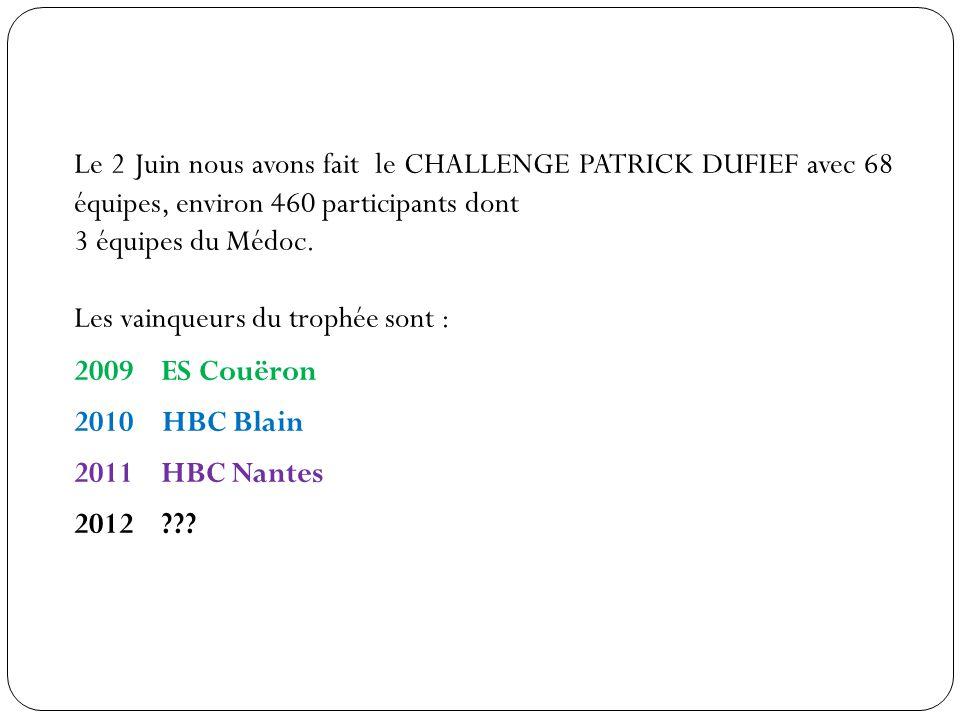 Le 2 Juin nous avons fait le CHALLENGE PATRICK DUFIEF avec 68 équipes, environ 460 participants dont 3 équipes du Médoc.