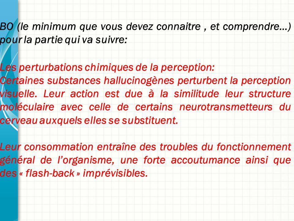 BO (le minimum que vous devez connaitre, et comprendre…) pour la partie qui va suivre: Les perturbations chimiques de la perception: Certaines substan